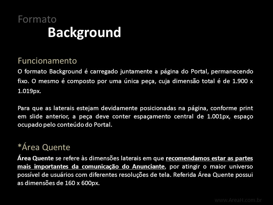 Background Formato Funcionamento *Área Quente