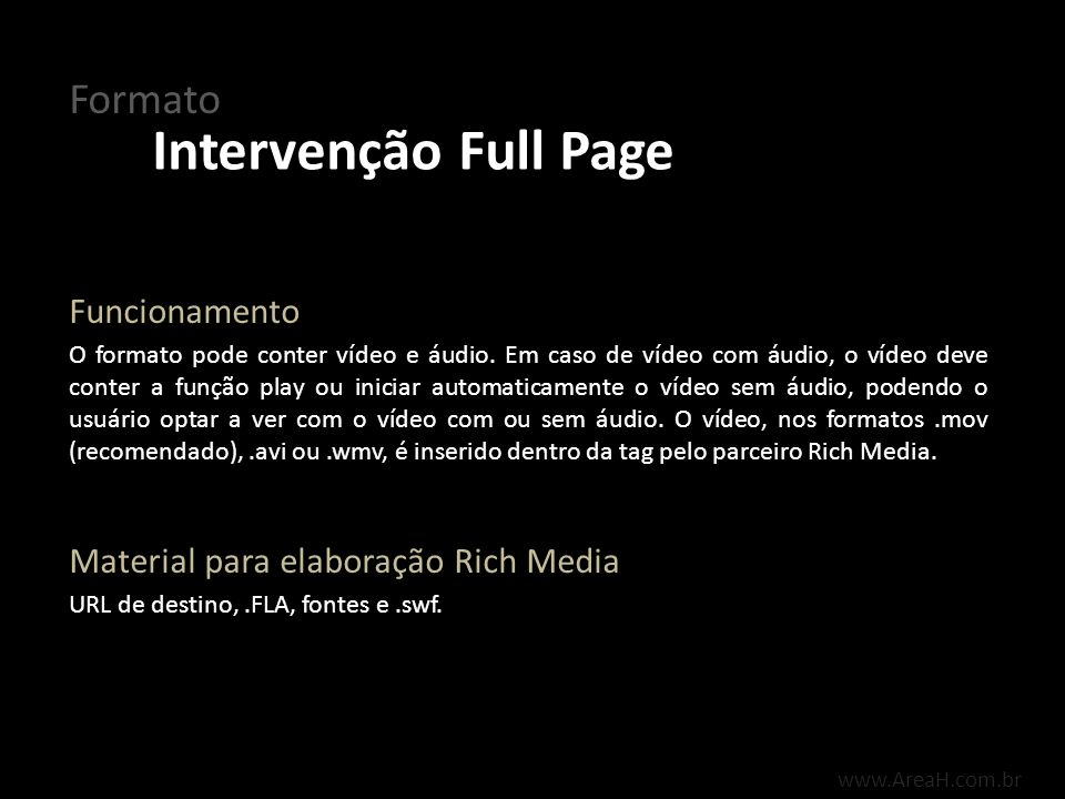 Intervenção Full Page Formato Funcionamento