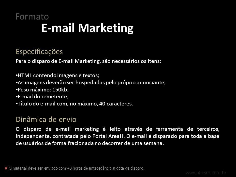 E-mail Marketing Formato Especificações Dinâmica de envio