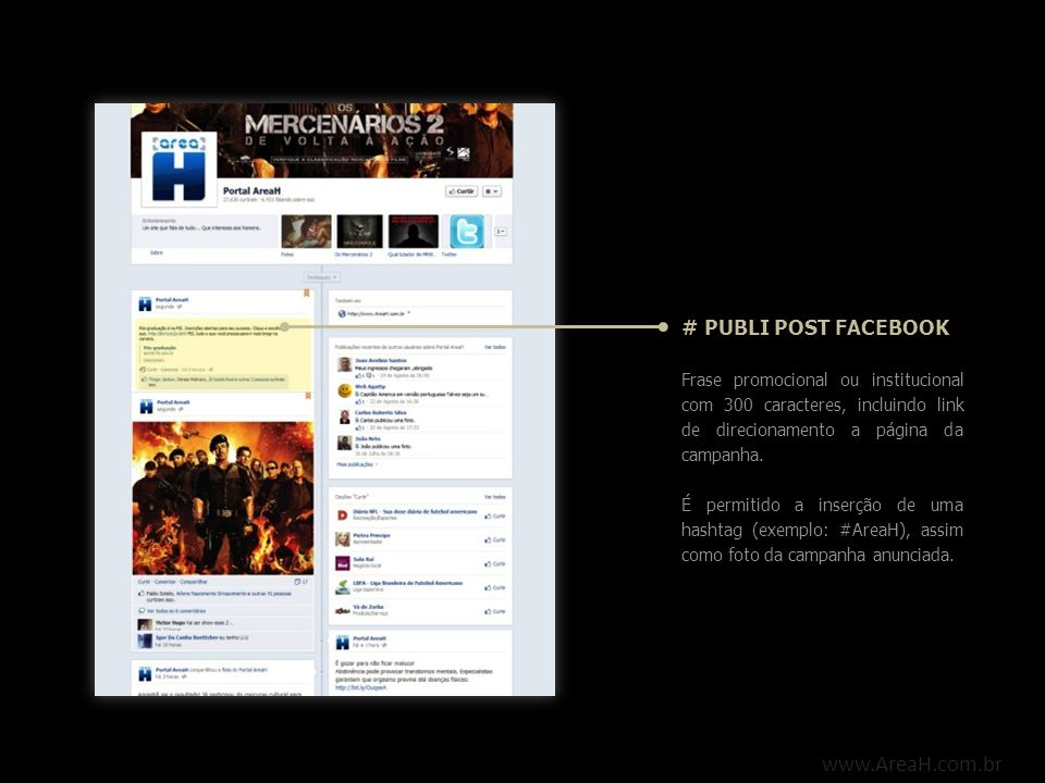 www.AreaH.com.br # PUBLI POST FACEBOOK