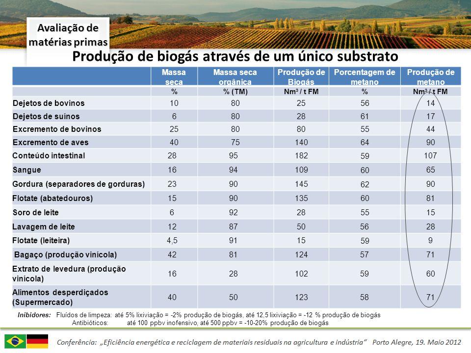 Produção de biogás através de um único substrato