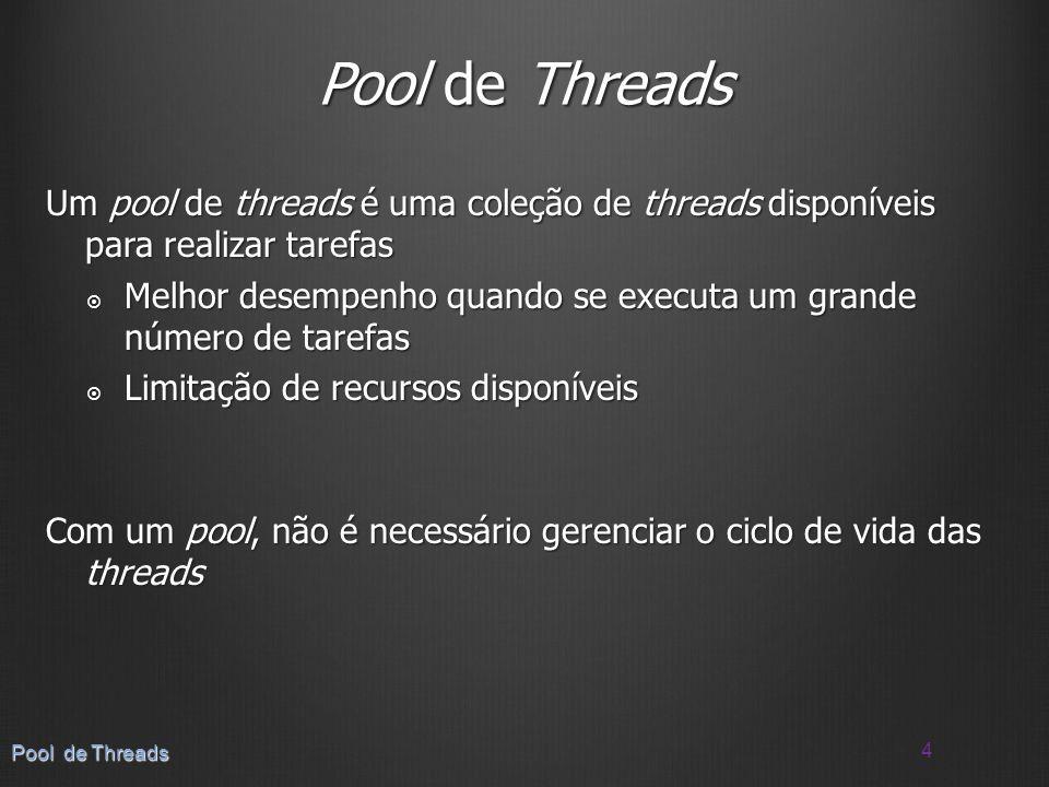 Pool de Threads Um pool de threads é uma coleção de threads disponíveis para realizar tarefas.