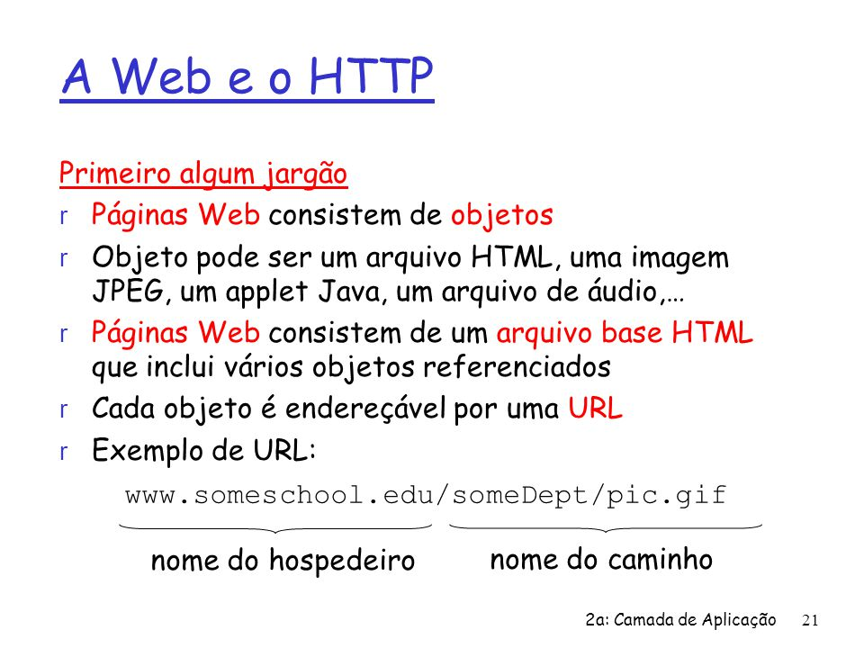 A Web e o HTTP Primeiro algum jargão Páginas Web consistem de objetos