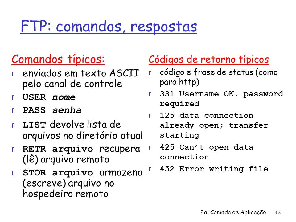 FTP: comandos, respostas