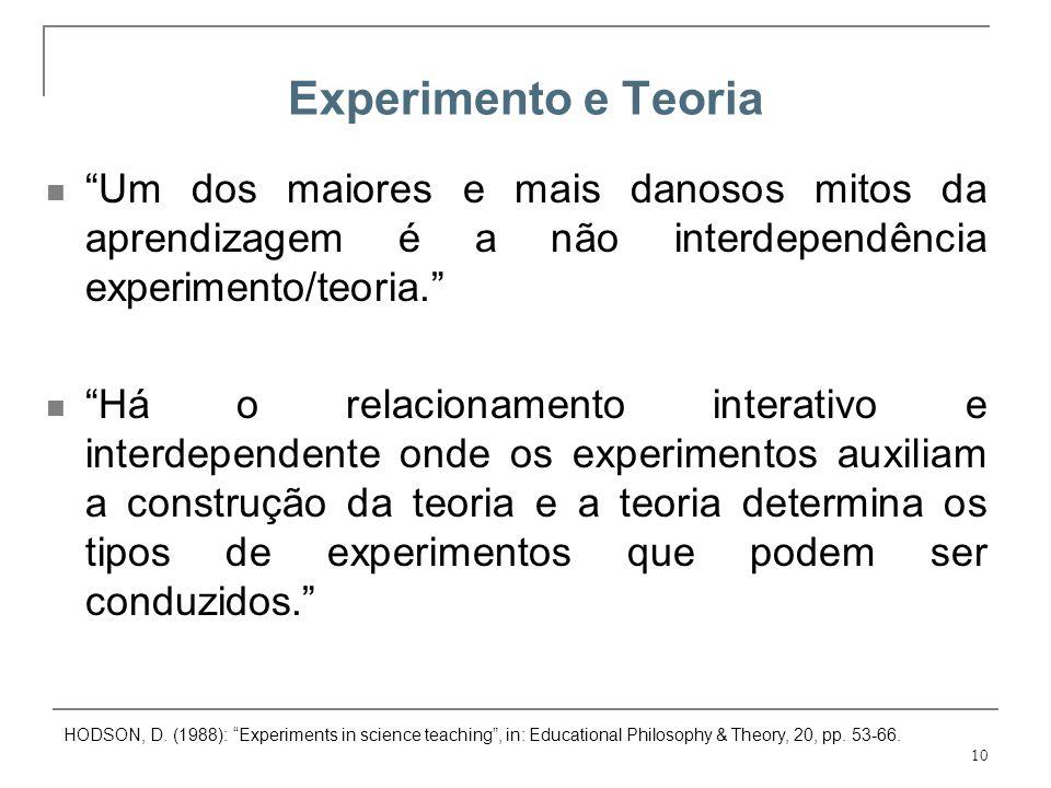 Experimento e Teoria Um dos maiores e mais danosos mitos da aprendizagem é a não interdependência experimento/teoria.