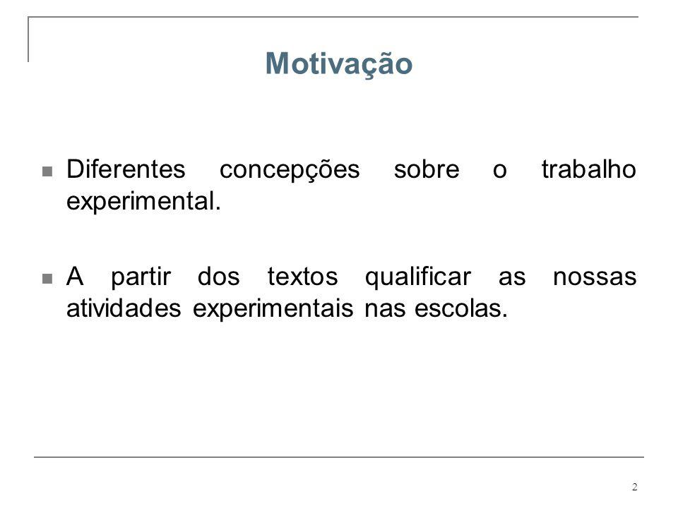 Motivação Diferentes concepções sobre o trabalho experimental.