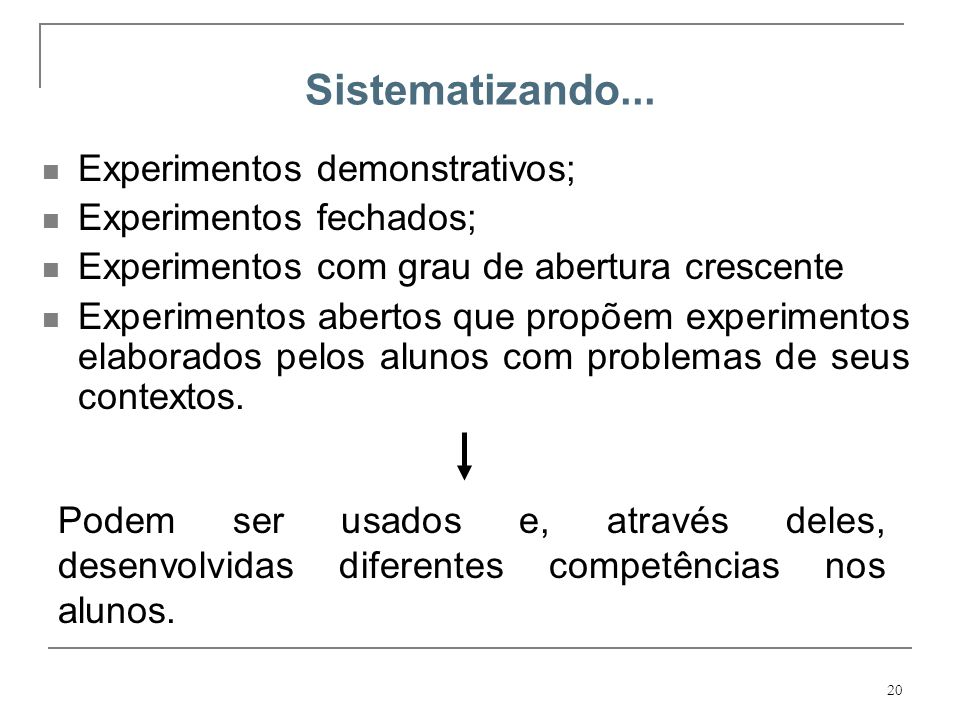 Sistematizando... Experimentos demonstrativos; Experimentos fechados;