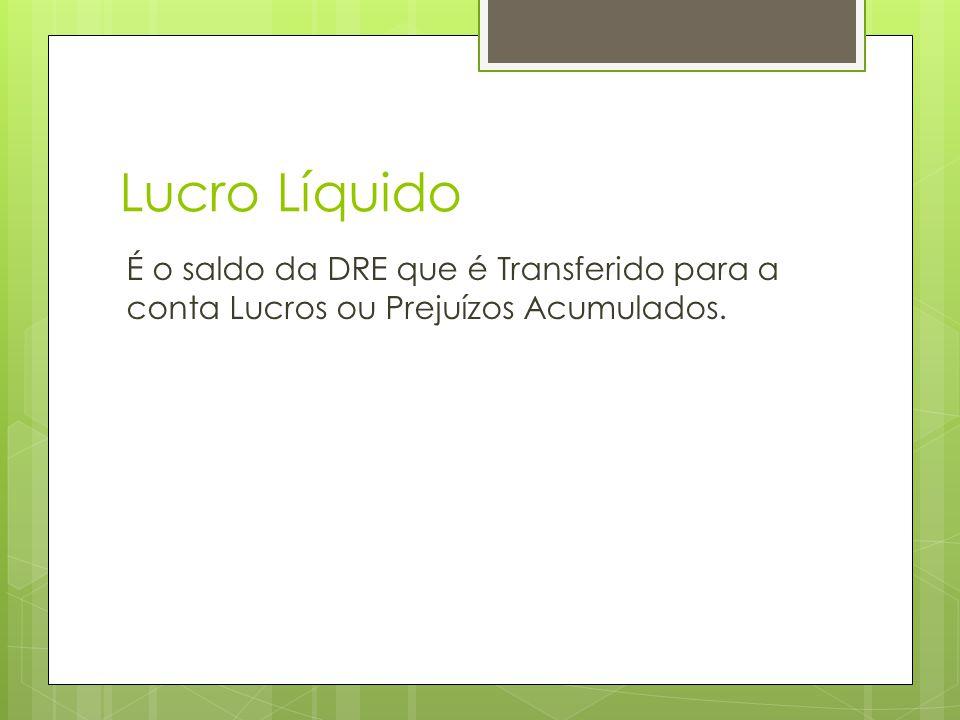 Lucro Líquido É o saldo da DRE que é Transferido para a conta Lucros ou Prejuízos Acumulados.