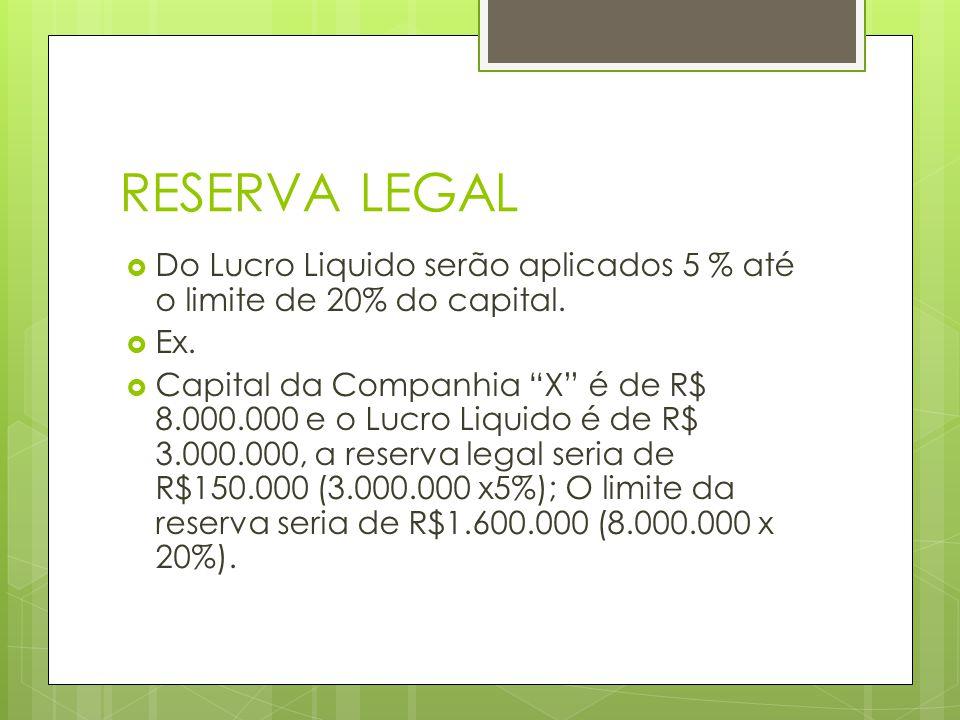 RESERVA LEGAL Do Lucro Liquido serão aplicados 5 % até o limite de 20% do capital. Ex.