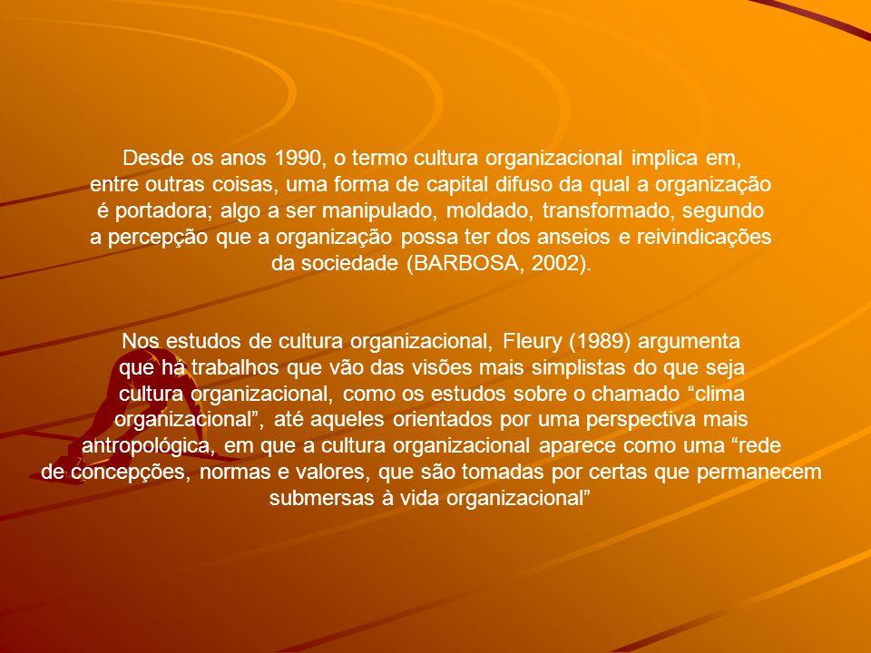 Desde os anos 1990, o termo cultura organizacional implica em,