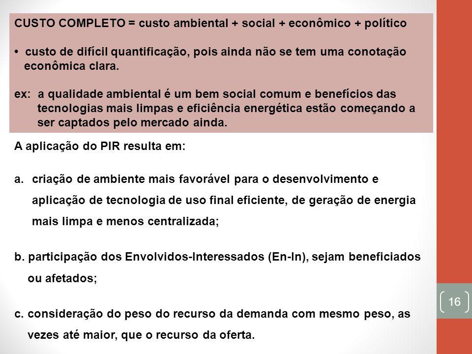 CUSTO COMPLETO = custo ambiental + social + econômico + político