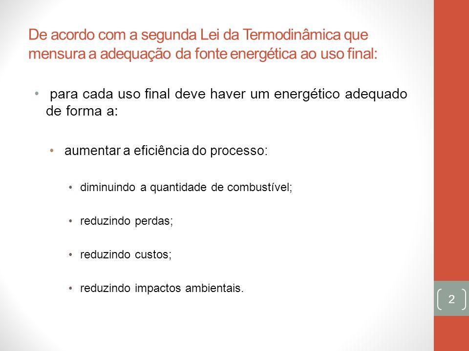 De acordo com a segunda Lei da Termodinâmica que mensura a adequação da fonte energética ao uso final:
