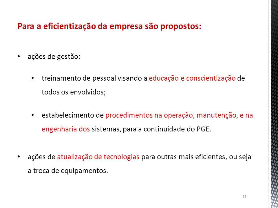 Para a eficientização da empresa são propostos: