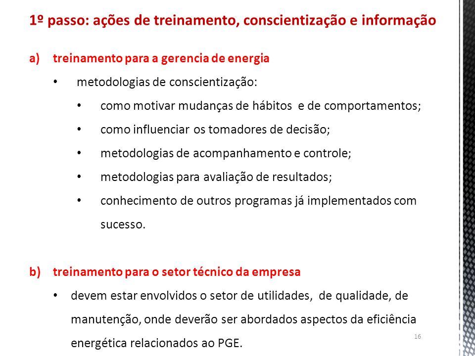 1º passo: ações de treinamento, conscientização e informação