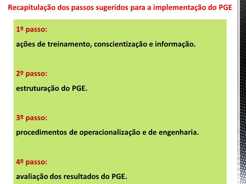 Recapitulação dos passos sugeridos para a implementação do PGE