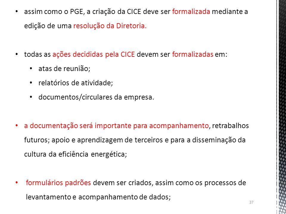assim como o PGE, a criação da CICE deve ser formalizada mediante a edição de uma resolução da Diretoria.