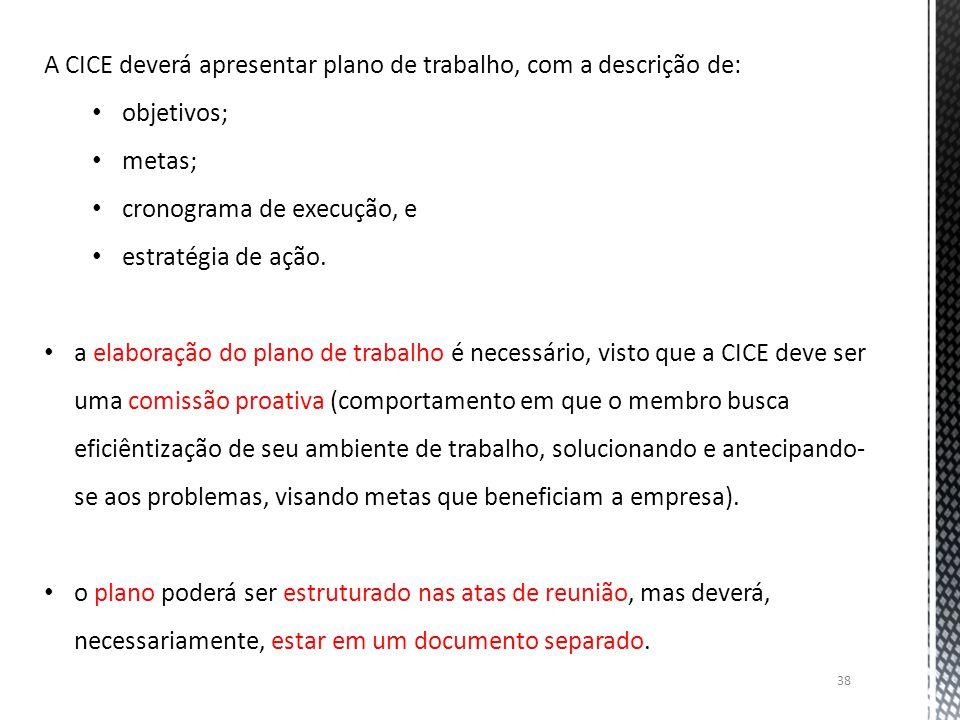 A CICE deverá apresentar plano de trabalho, com a descrição de: