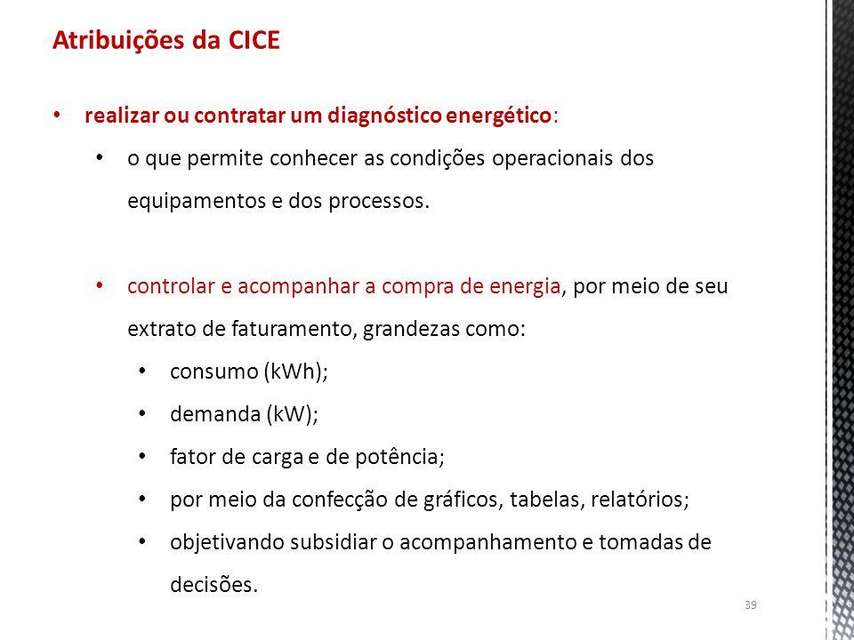 Atribuições da CICE realizar ou contratar um diagnóstico energético: