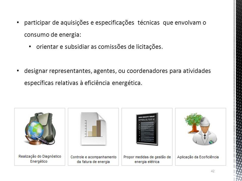 participar de aquisições e especificações técnicas que envolvam o consumo de energia: