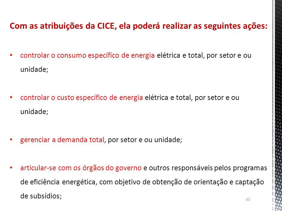 Com as atribuições da CICE, ela poderá realizar as seguintes ações: