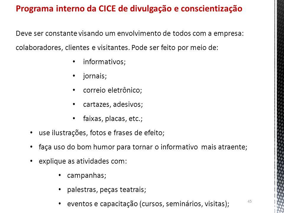 Programa interno da CICE de divulgação e conscientização