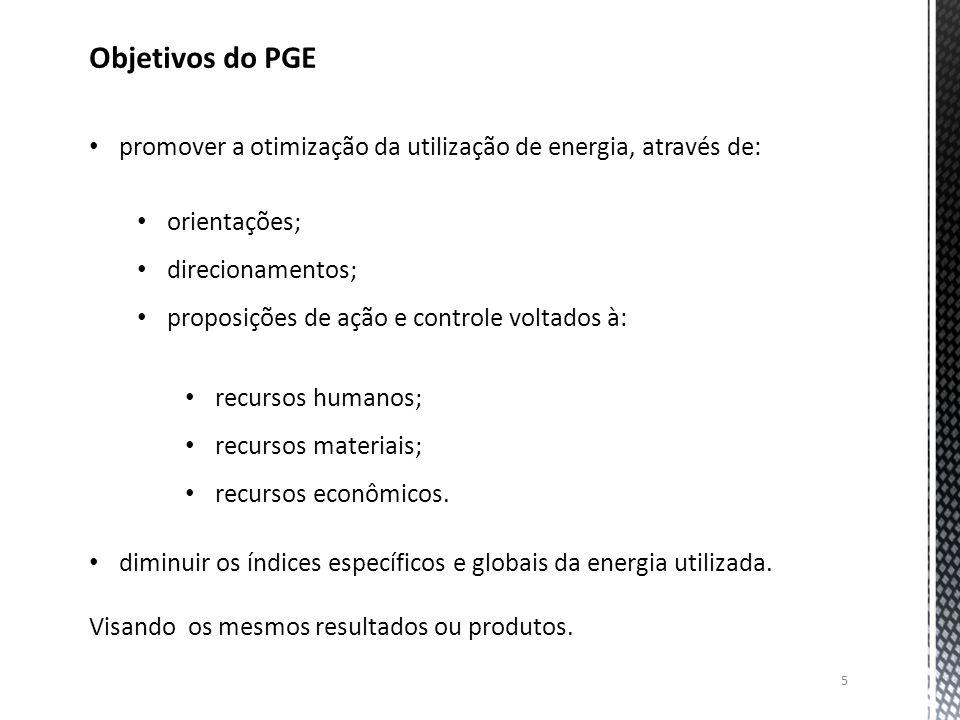 Objetivos do PGE promover a otimização da utilização de energia, através de: orientações; direcionamentos;