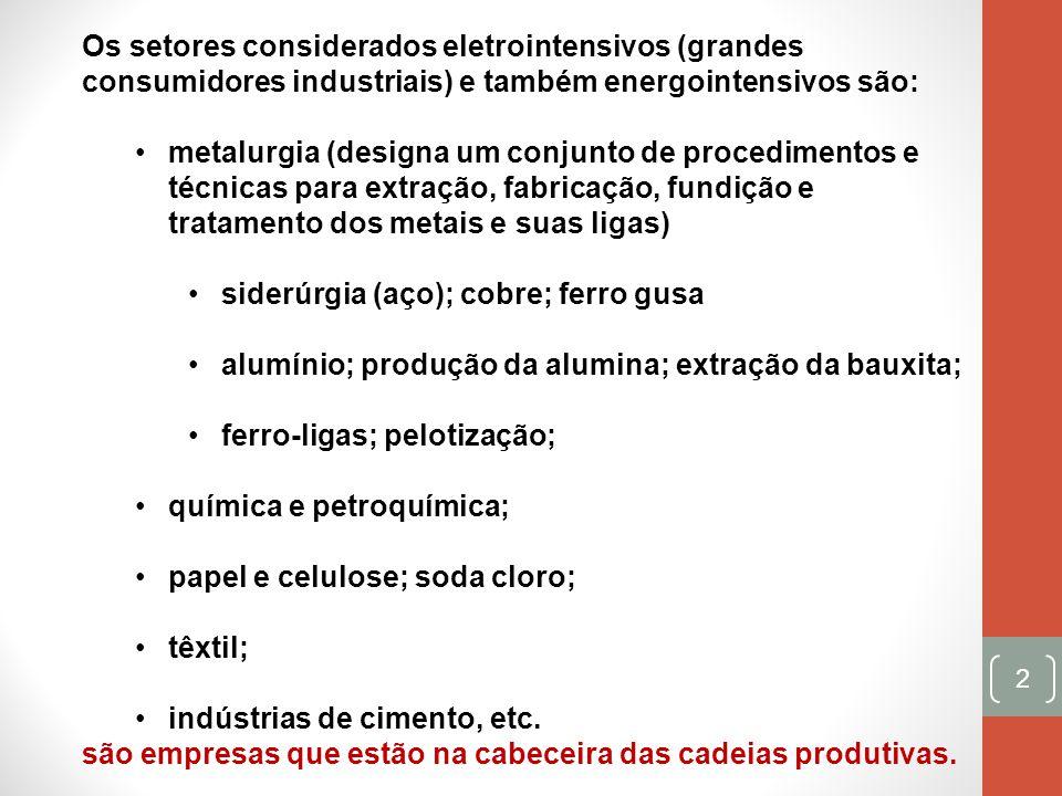 Os setores considerados eletrointensivos (grandes consumidores industriais) e também energointensivos são:
