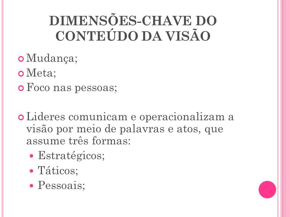 DIMENSÕES-CHAVE DO CONTEÚDO DA VISÃO