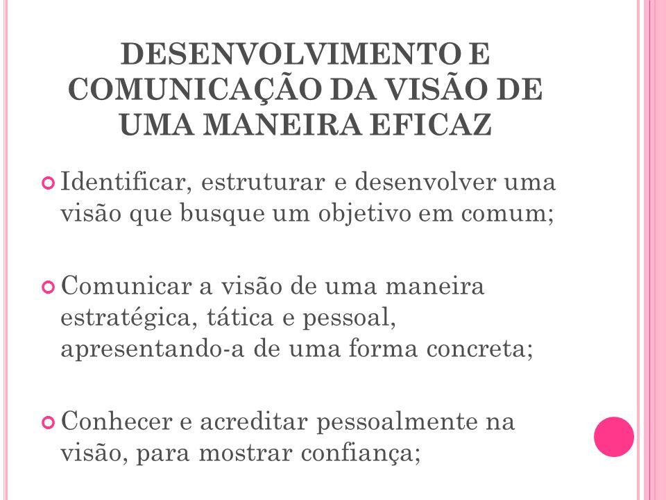 DESENVOLVIMENTO E COMUNICAÇÃO DA VISÃO DE UMA MANEIRA EFICAZ