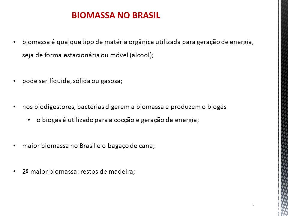 BIOMASSA NO BRASIL biomassa é qualque tipo de matéria orgânica utilizada para geração de energia, seja de forma estacionária ou móvel (alcool);