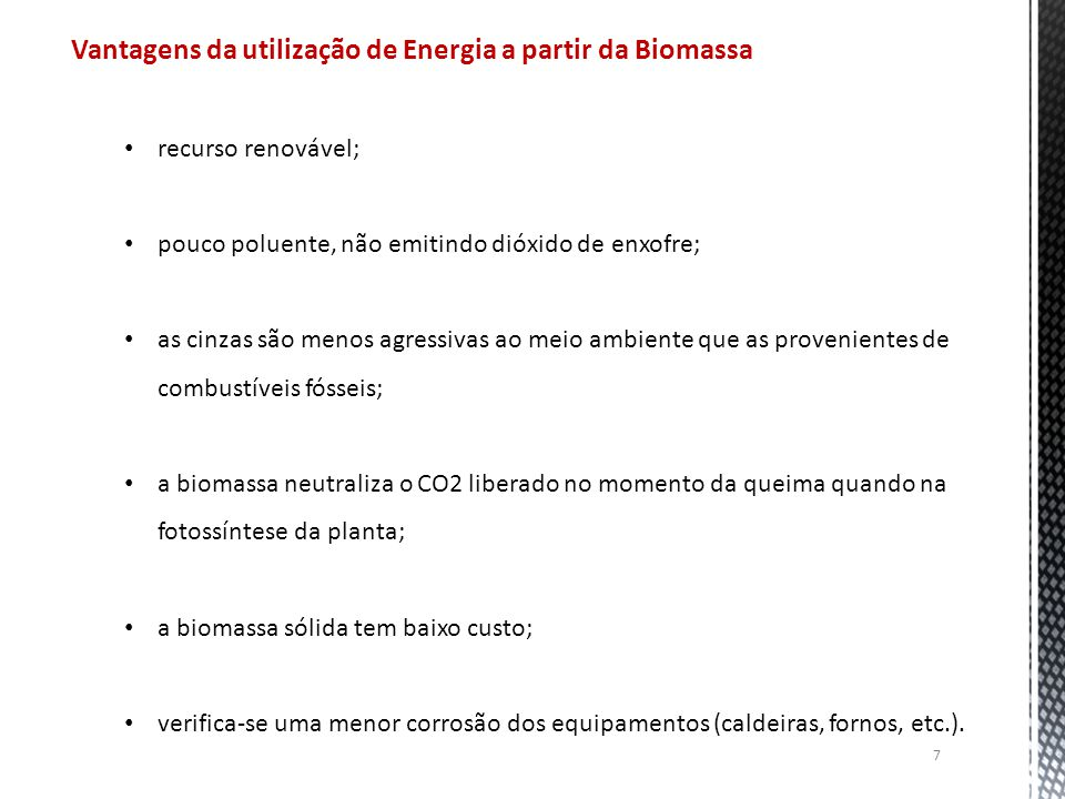 Vantagens da utilização de Energia a partir da Biomassa
