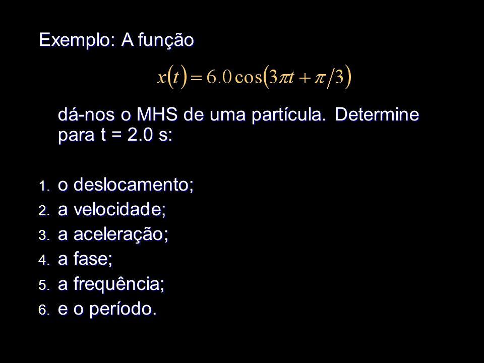 Exemplo: A função dá-nos o MHS de uma partícula. Determine para t = 2.0 s: o deslocamento; a velocidade;