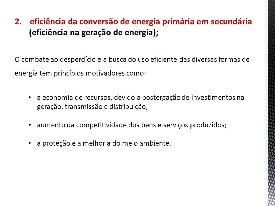 2. eficiência da conversão de energia primária em secundária