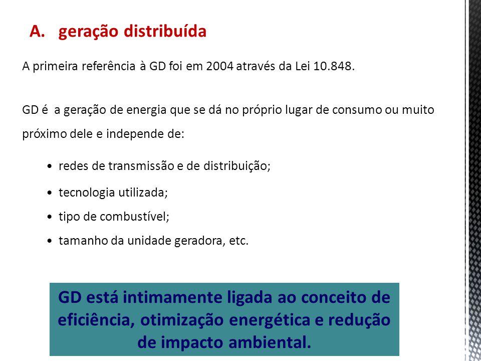 A. geração distribuída A primeira referência à GD foi em 2004 através da Lei 10.848.