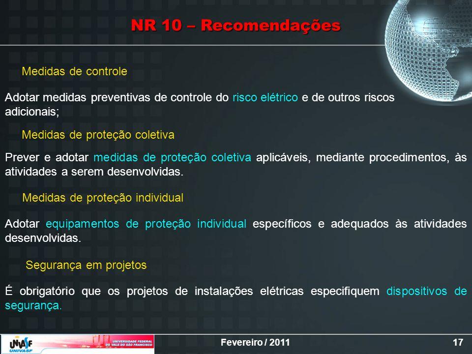 NR 10 – Recomendações Medidas de controle