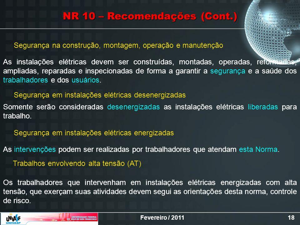 NR 10 – Recomendações (Cont.)