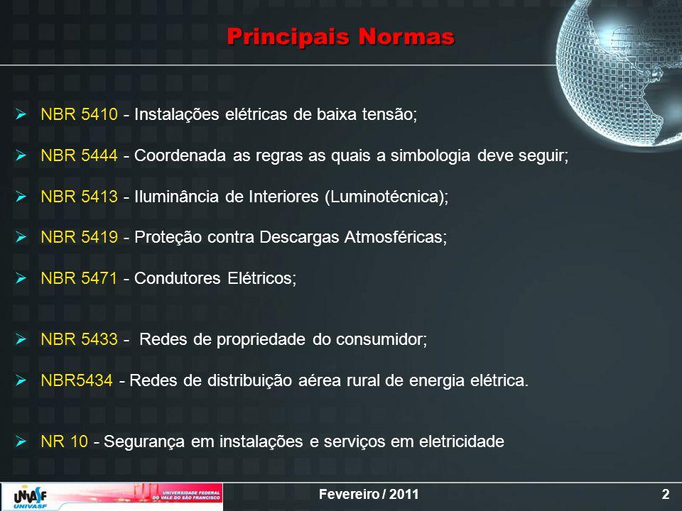 Principais Normas NBR 5410 - Instalações elétricas de baixa tensão;