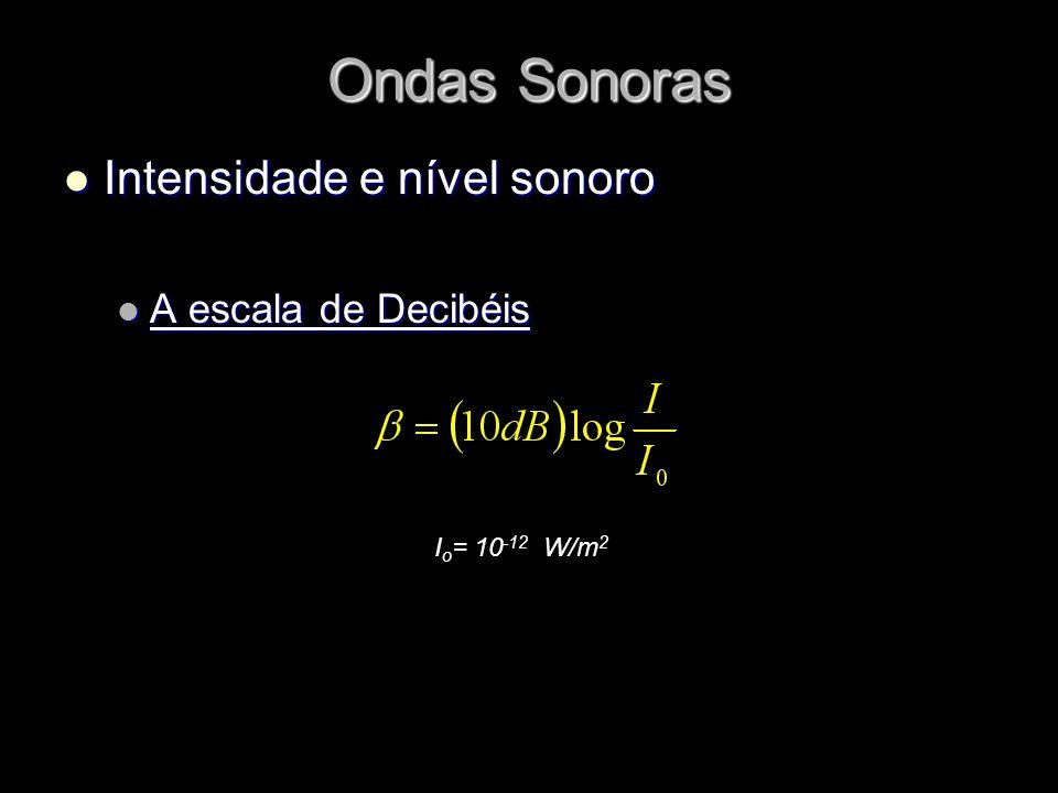 Ondas Sonoras Intensidade e nível sonoro A escala de Decibéis