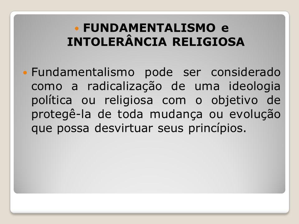 FUNDAMENTALISMO e INTOLERÂNCIA RELIGIOSA