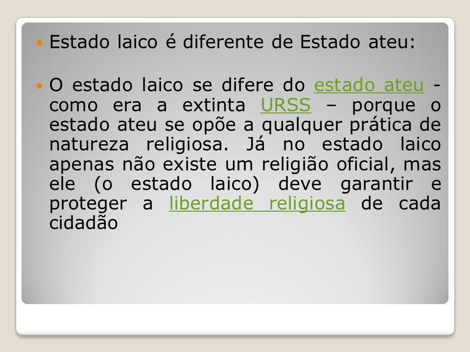 Estado laico é diferente de Estado ateu: