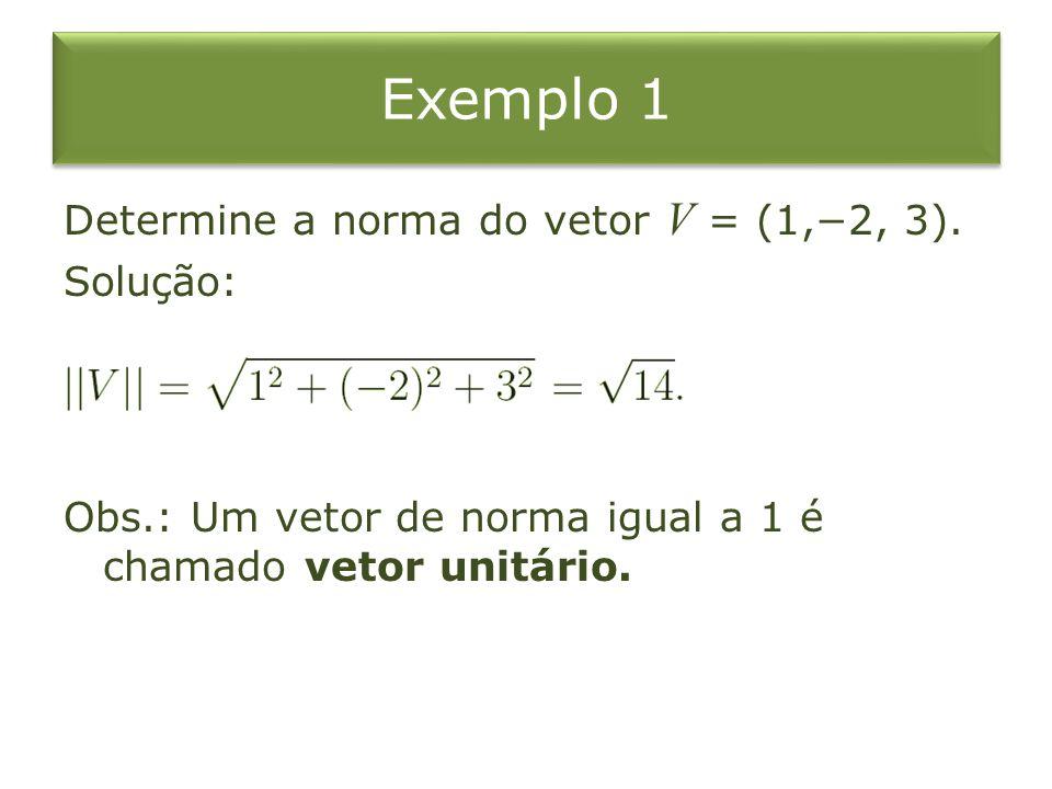Exemplo 1 Determine a norma do vetor V = (1,−2, 3).