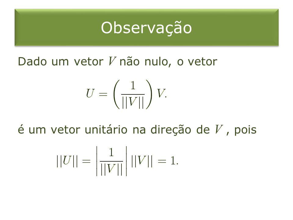 Observação Dado um vetor V não nulo, o vetor é um vetor unitário na direção de V , pois
