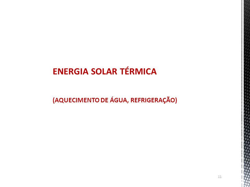 ENERGIA SOLAR TÉRMICA (AQUECIMENTO DE ÁGUA, REFRIGERAÇÃO)