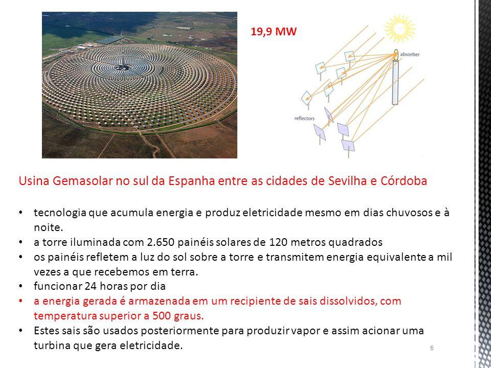 19,9 MW Usina Gemasolar no sul da Espanha entre as cidades de Sevilha e Córdoba.