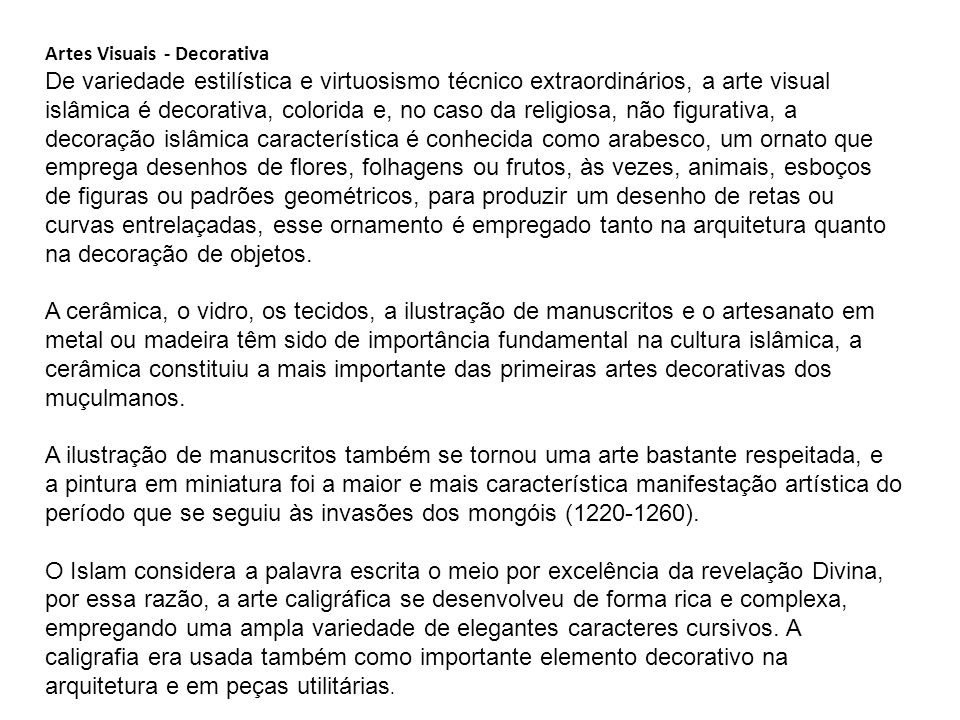Artes Visuais - Decorativa