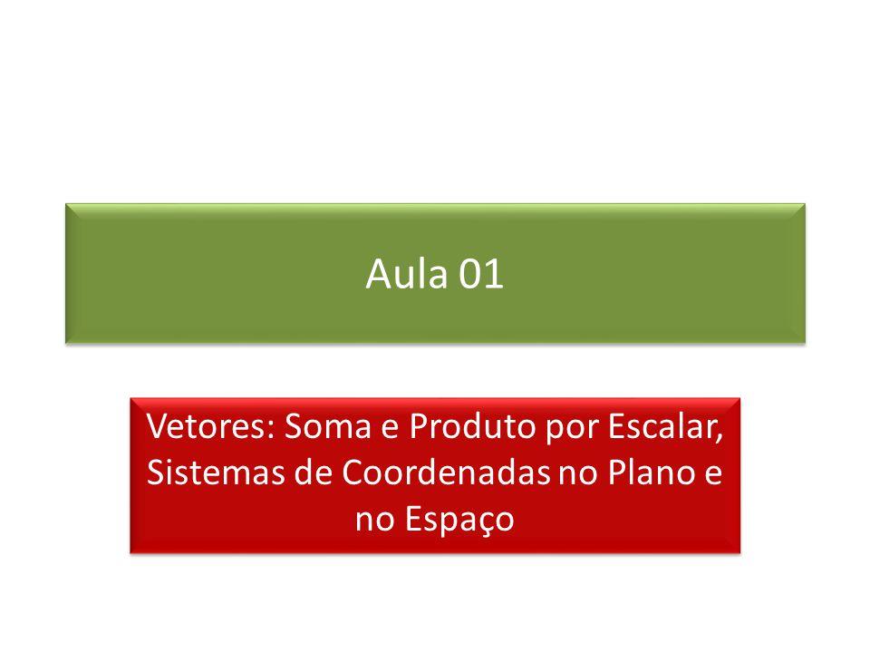 Aula 01 Vetores: Soma e Produto por Escalar, Sistemas de Coordenadas no Plano e no Espaço
