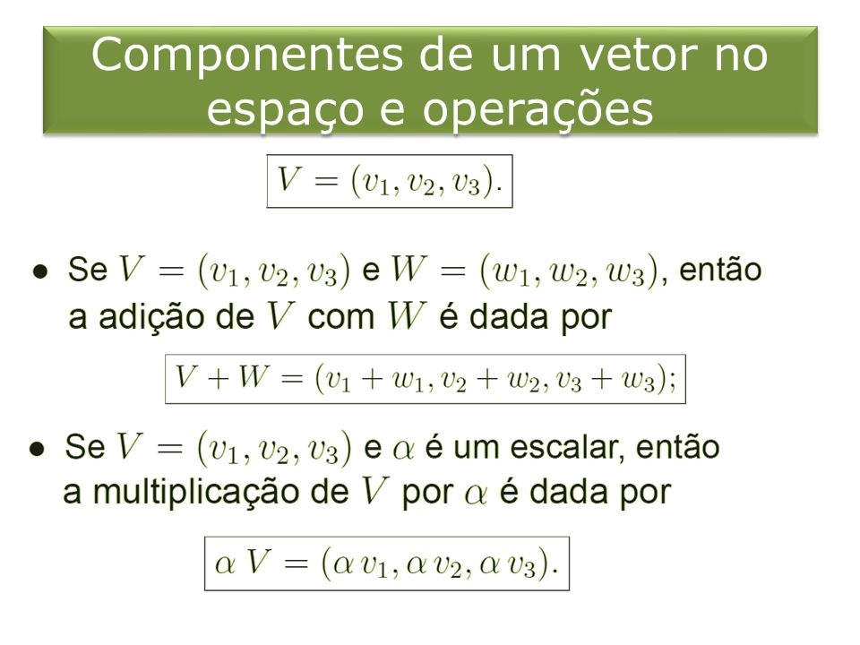 Componentes de um vetor no espaço e operações