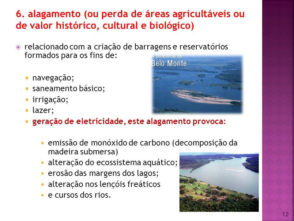 6. alagamento (ou perda de áreas agricultáveis ou de valor histórico, cultural e biológico)