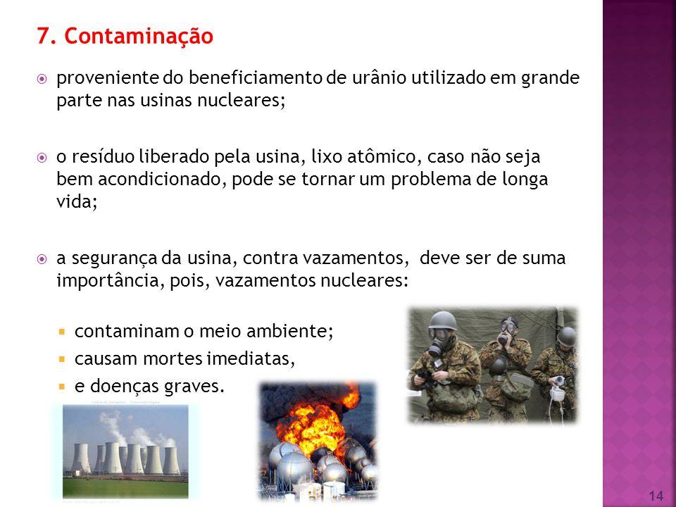 7. Contaminação proveniente do beneficiamento de urânio utilizado em grande parte nas usinas nucleares;