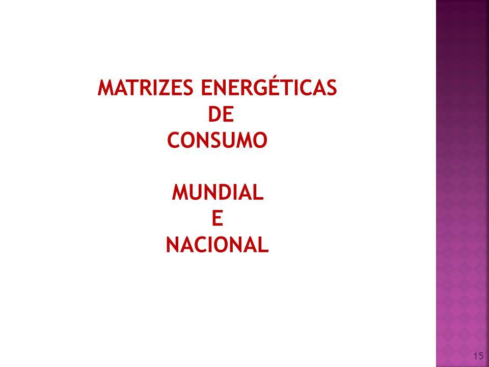 MATRIZES ENERGÉTICAS DE CONSUMO MUNDIAL E NACIONAL